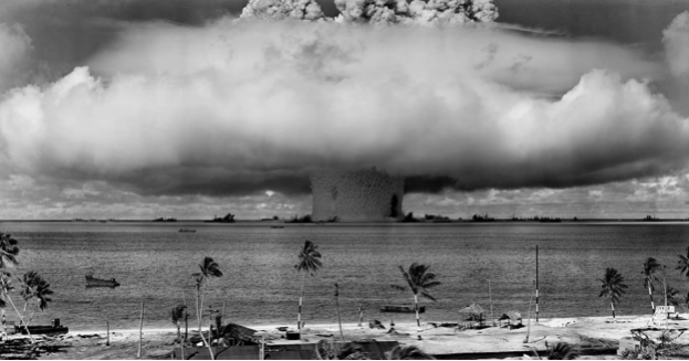 Picture of Nuclear effect on an area, showing the devastating consequences of the nuclear weapon usage should a nuclear weapon be fired because the judgement passed by the ICJ is unclear.
